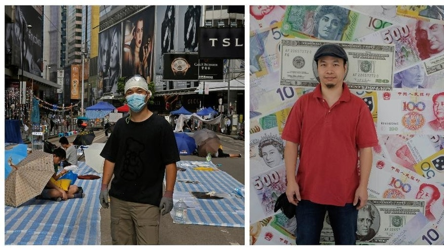 """This combination of photos, shows left,  Melvin Lee, an engineer, posing for a portrait on a main road in the occupied areas at Causeway Bay district in Hong Kong on Oct. 10, 2014, and right, a portrait of Lee in front of a wall near his office in Hong Kong almost one year later on Sept. 25, 2015. A year ago, Hong Kong's famously busy streets were shut down by pro-democracy protesters in the so-called """"Umbrella Movement,"""" a moniker that came from the umbrellas used by demonstrators to fend off pepper spray used by police early in the nearly 80-day face-off. Students, retirees and others took to the streets to express their opposition against Beijing's plan to restrict candidates in elections for the city's top leader. Hong Kong is a semiautonomous part of China, with its own legal system, free-wheeling press and local government, but is ultimately under Beijing's rule. (AP Photo/Vincent Yu)"""