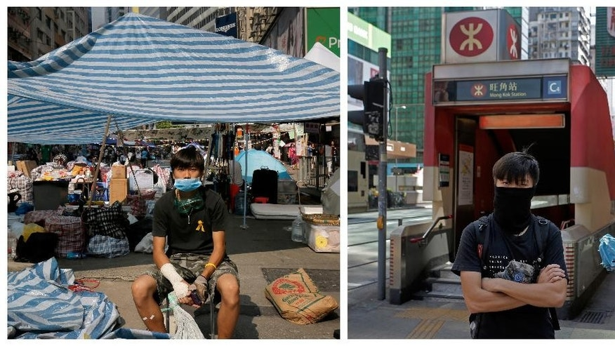 """This combination image shows Mo, 22, an accountant, posing for a portrait in front of a makeshift tent on a main road in an occupied area in Hong Kong's Causeway Bay district on Oct. 14, 2014, and right, on Sept. 25, 2015, Mo posing for a portrait in front of a subway station in Hong Kong almost one year later. A year ago, Hong Kong's famously busy streets were shut down by pro-democracy protesters in the so-called """"Umbrella Movement,"""" a moniker that came from the umbrellas used by demonstrators to fend off pepper spray used by police early in the nearly 80-day face-off.  (AP Photo/Vincent Yu)"""