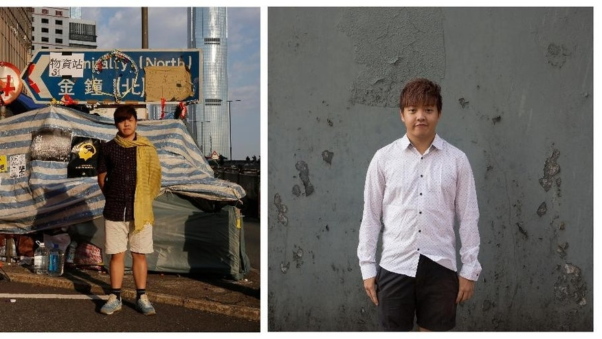 """This combination of photos, shows left,  Kelvin Lee, then a student studying aviation management, posing for a portrait in front of a makeshift tent on a main road in an occupied area near government headquarters in Hong Kong on Oct. 10, 2014, and right, Lee, now a graduated student, posing for a portrait near a subway station in Hong Kong almost one year later on Sept. 25, 2015. A year ago, Hong Kong's famously busy streets were shut down by pro-democracy protesters in the so-called """"Umbrella Movement,"""" a moniker that came from the umbrellas used by demonstrators to fend off pepper spray used by police early in the nearly 80-day face-off.  (AP Photo/Vincent Yu)"""