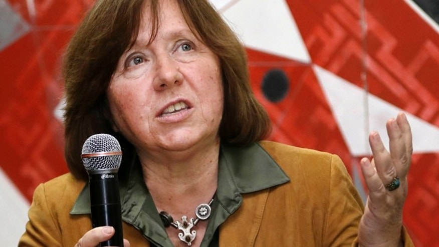 Sept. 16, 2014: Belarusian journalist Svetlana Alexievich speaks in Minsk, Belarus.