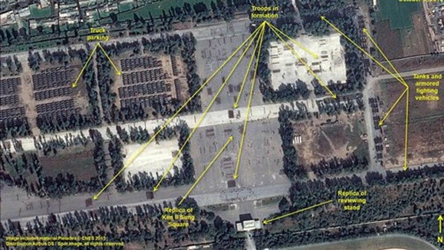 This image provided by the U.S.-Korea Institute at the Johns Hopkins School of Advanced International Studies via 38 North and via a satellite image from Centre National dÉtudes Spatiales, is a photo taken Oct. 6 ahead of a military parade in North Korea.