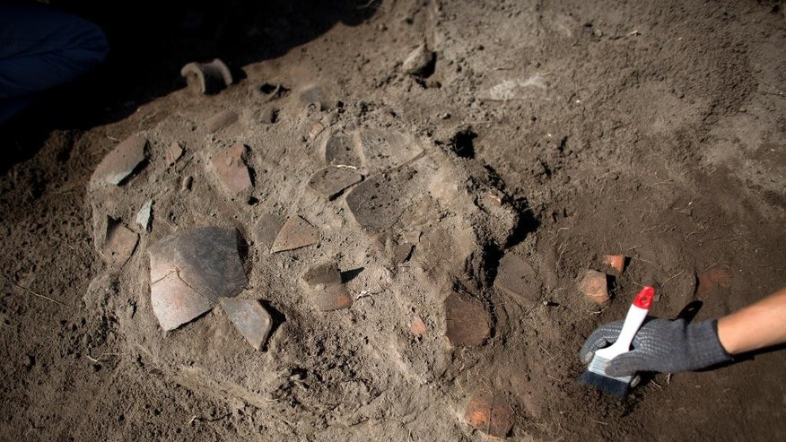 A worker clears the area around broken pottery lying in situ at the Zultepec-Tecoaque archeological site in Tlaxcala state, Mexico, Thursday, Oct. 8, 2015.  The inhabitants of the Aztec-allied town are known as Texcocanos or Acolhuas. (AP Photo/Rebecca Blackwell)