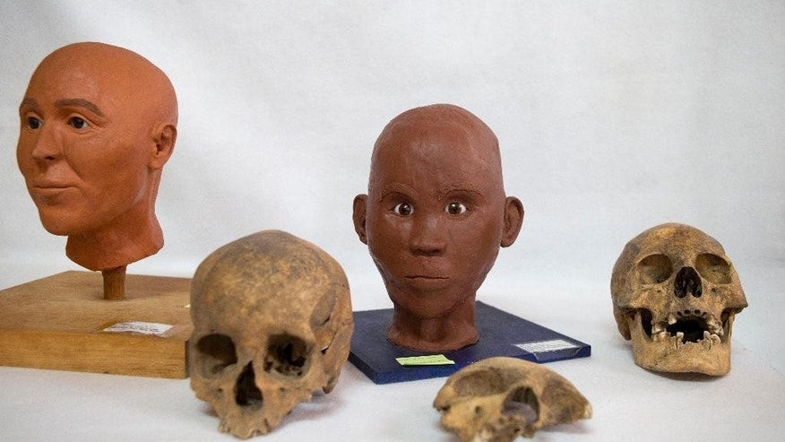 The skull of a Spaniard, bottom left, a child, center, and a person of African heritage sit alongside models of what a Spanish conquistador and a person of mixed Amerindian and African descent may have looked like, at the Zultepec-Tecoaque archeological site in Tlaxcala state, Mexico, Thursday, Oct. 8, 2015. Faced with the invaders accompanied by unknown animal species, the inhabitants of the Aztec-allied town just east of Mexico City captured a convoy of about 15 Spaniards, 45 foot-soldiers _ including Cubans of African and Indian descent _ women, and 350 Indian allies of the Spaniards, including Mayas and other groups. (AP Photo/Rebecca Blackwell)