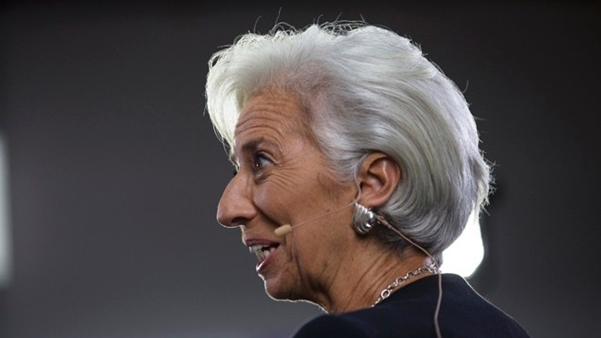 International Monetary Fund chief Christine Lagarde answers a question during a TV interview in Lima, Peru, Thursday, Oct. 8, 2015. The world's finance ministers and central bankers are in Lima for the joint annual meetings of the World Bank and IMF that run through Sunday. (AP Photo/Rodrigo Abd)