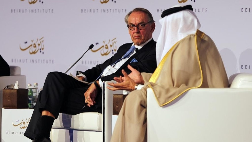 "U.N. Deputy Secretary-General Jan Eliasson, left, listens to Abdullatif al-Zayani, Secretary General of the Gulf Cooperation Council, during the opening day of the Beirut Institute Summit, in Abu Dhabi, United Arab Emirates, Saturday, Oct. 10, 2015. Al-Zayani said Saturday that Russia's intervention in Syria could help defeat the Islamic State militant group if it works with other nations battling the extremists. Meanwhile Eliasson called on all countries in the region, and the Security Council, to work toward a ""credible political transition in Syria."" (AP Photo/Kamran Jebreili)"