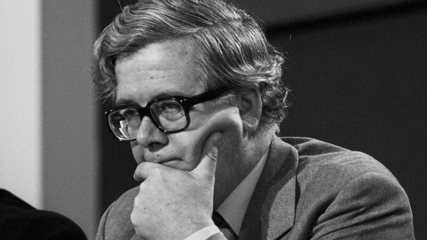 FILE - In this Oct. 14, 1981 file photo, Geoffrey Howe, pauses, during the Conservative Party Conference. The family of Britain's former Treasury chief Geoffrey Howe says the longtime Conservative Party figure has died at his home. He was 88. The family said Saturday that he had died suddenly of a suspected heart attack late Friday night, Oct. 9, 2015,  at his home in Warwickshire, north of London. (PA via AP, File) UNITED KINGDOM OUT
