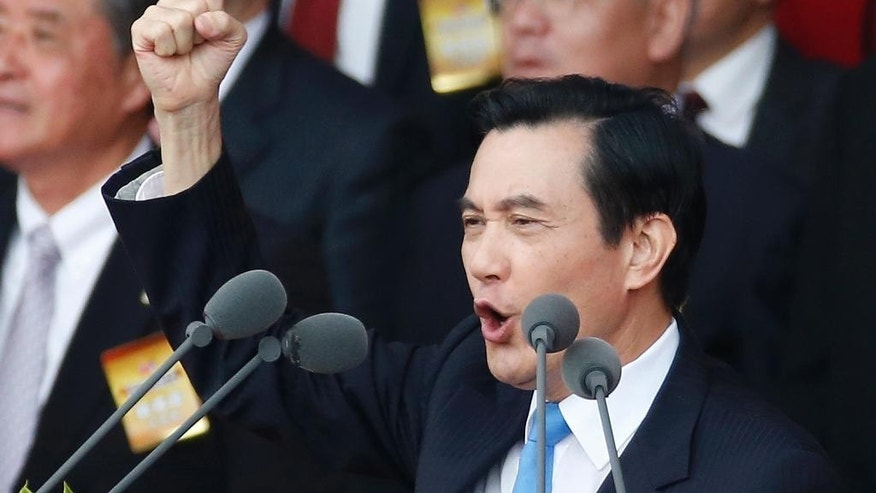 Taiwan's President Ma Ying-jeou delivers the keynote speech during the National Day celebrations in Taipei, Taiwan, Saturday, Oct. 10, 2015. Ma warned his successor Saturday to continue to meet Beijing's condition for dialogue that the two sides see each other as parts of one country, despite growing discontent at home toward the mainland's Communist leadership. (AP Photo/Wally Santana)
