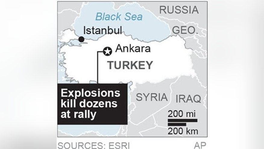 Map locates Ankara, Turkey site of a deadly explosion; 1c x 1 1/2 inches; with AP-EU-Turkey-Blast; ETA 10:30 a.m. ; 1c x 1 1/2 inches; 46.5 mm x 38 mm;