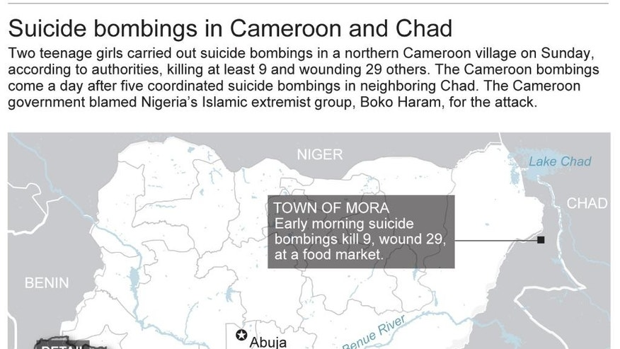 Map shows details of suicide bombing in northern Cameroon town of Mora; 3c x 4 1/2 inches; 146 mm x 114 mm;