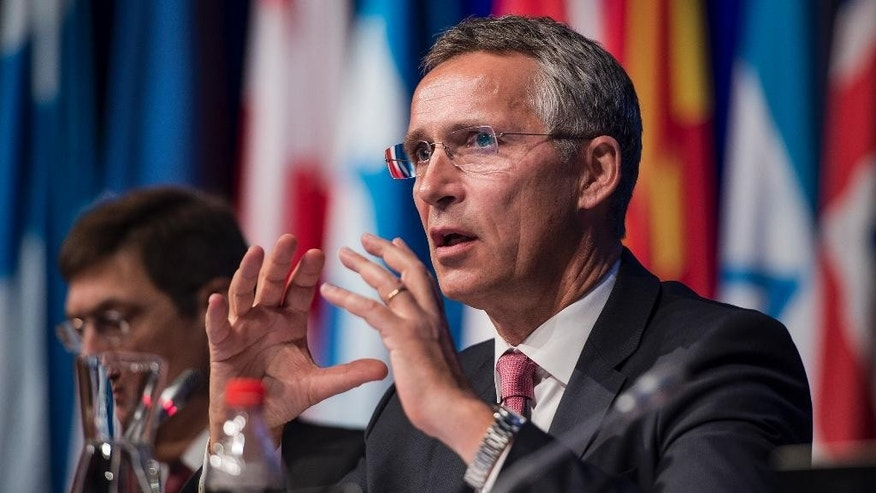 NATO Secretary General Stoltenberg speaks at a NATO Parliamentary Assembly meeting in Stavanger, Norway, Monday Oct. 12, 2015.  The group of NATO nations are considering various issues, including climate change, the ceasefire agreement in eastern Ukraine with sanction against Russia, and developments in the Middle East region. (Carina Johansen / NTB scanpix via AP) NORWAY OUT