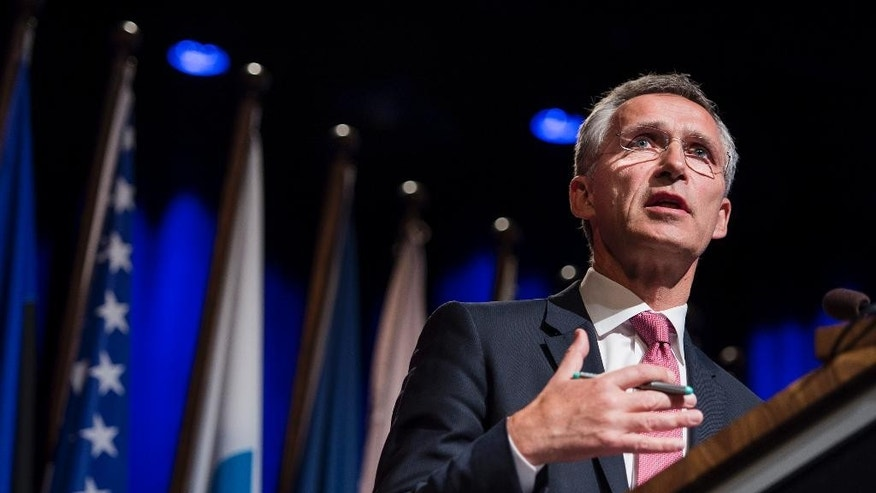 NATO Secretary General Stoltenberg attends a NATO Parliamentary Assembly meeting in Stavanger, Norway, Monday Oct. 12, 2015.  The group of NATO nations are considering various issues, including climate change, the ceasefire agreement in eastern Ukraine with sanction against Russia, and developments in the Middle East region. (Carina Johansen / NTB scanpix via AP) NORWAY OUT