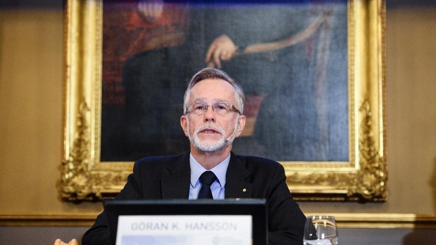 "Oct. 12, 2015- Goran K. Hansson, Permanent Secretary for the Royal Swedish Academy of Sciences addresses a press conference to announce the winner of the 2015 Nobel economics prize in Stockholm, Sweden. Scottish economist Angus Deaton has won for ""his analysis of consumption, poverty, and welfare."""