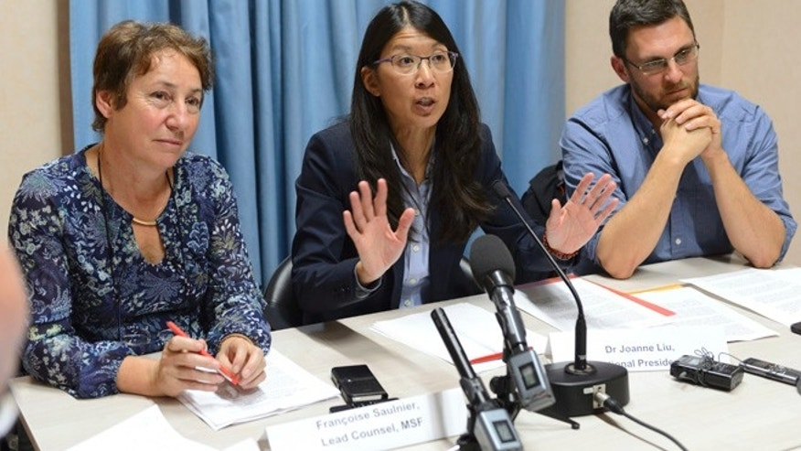 Oct. 7, 2015: Francoise Saulnier, MSF, lead counsel, Joanne Liu, President of MSF International, and Bruno Jochum, Director General of MSF Switzerland, from left to right, attend a news conference on the US air strike on a hospital in Kunduz, Afghanistan.