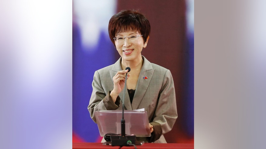 In this Oct. 6, 2015, photo, Taiwan's ruling Nationalist Party 2016 presidential candidate Hung Hsiu-chu speaks during a press conference at the party headquarters in Taipei, Taiwan. Hung's party has set the stage to oust her less than three months ahead of the election, a first for the island and the latest setback for a political camp that has lost public support over its friendly ties with old political rival China. (AP Photo/Wally Santana)