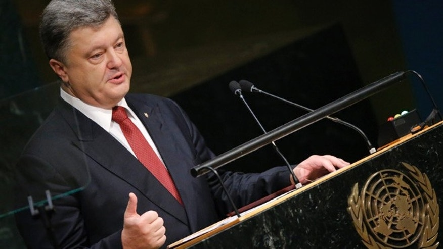 Sept. 29, 2015: President Petro Poroshenko of Ukraine addresses attendees during the 70th session of the United Nations General Assembly at the U.N. Headquarters in New York.