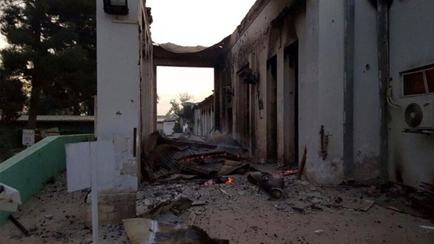 Oct. 3, 2015: Charred remains of the Doctors Without Borders hospital is seen after being hit by a U.S. airstrike, in Kunduz, Afghanistan.
