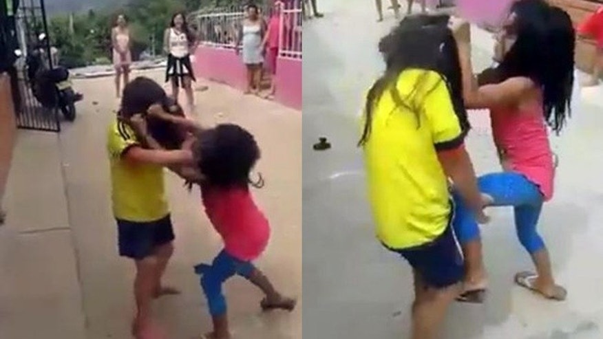 The girls are encouraged to punch each other and pull hair.