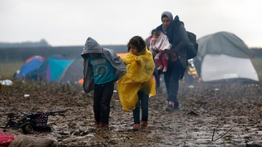 Migrants walk in the field near a border line between Serbia and Croatia, near the village of Berkasovo, Serbia, Tuesday, Oct. 20, 2015. Thousands of people trying to reach the heart of Europe surged across Serbia's border into Croatia on Monday after authorities eased restrictions that had left them stranded for days in ankle-deep mud and rain. (AP Photo/Darko Vojinovic)