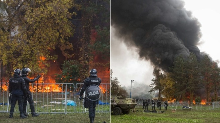Fire breaks out at a refugee camp in Slovenia.