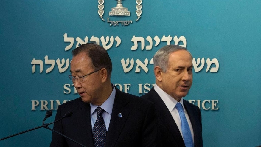 "United Nations Secretary-General Ban Ki-moon, left, and Israeli Prime Minister Benjamin Netanyahu, arrive to a press conference at the Prime Minister's office in Jerusalem, Tuesday, Oct. 20, 2015. Israeli Prime Minister Benjamin Netanyahu says Palestinian President Mahmoud Abbas is ""fanning the flames"" of recent violence. Speaking Tuesday night at a press conference with U.N. Secretary-General Ban Ki-moon, Netanyahu blamed Abbas for incitement. (AP Photo/Sebastian Scheiner)"