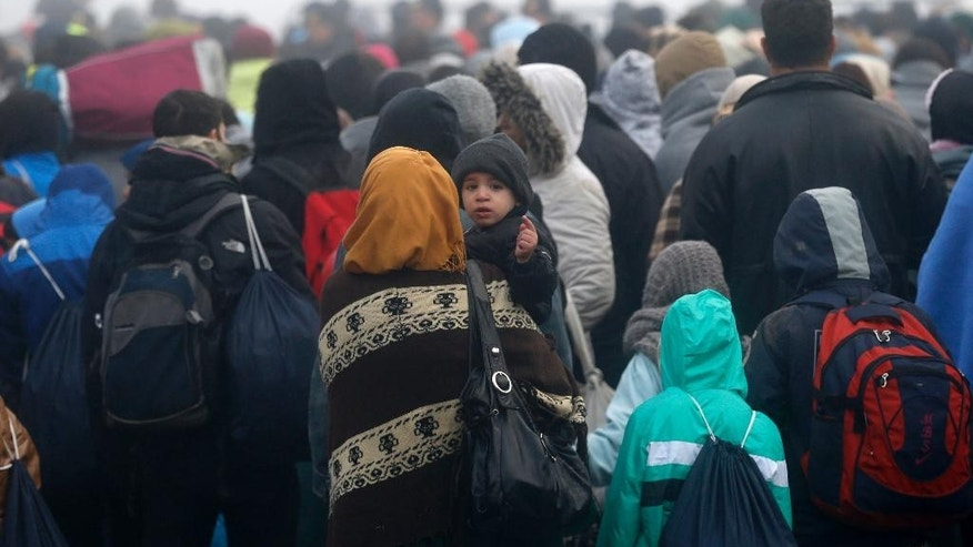 Migrants wait to cross a border between Serbia and Croatia, near the village of Berkasovo, Serbia, Thursday, Oct. 22, 2015. Many migrants from the Middle East, Asia and Africa expressed bewilderment and disappointment because they had been told as they began their journeys in Turkey that the hard part would end once they reached EU countries like Croatia and Slovenia. (AP Photo/Darko Vojinovic)
