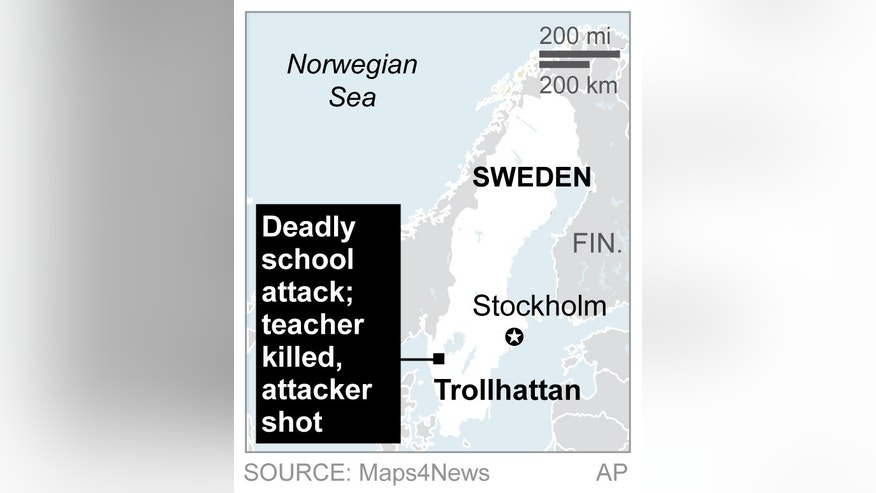 Map locates school shooting in Trollhattan, Sweden, CORRECTS callout box to reflect nature of attack; 1c x 2 inches; 46.5 mm x 50 mm;