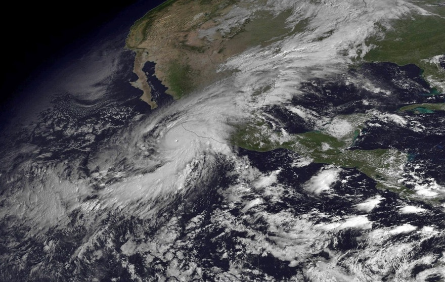 Oct. 23, 2015 - Image released by the National Oceanic and Atmospheric Administration shows Hurricane Patricia moving over Mexico's Pacific Coast. Patricia headed toward southwestern Mexico as a Category 5 storm, the strongest ever in the Western Hemisphere. (NOAA via AP)