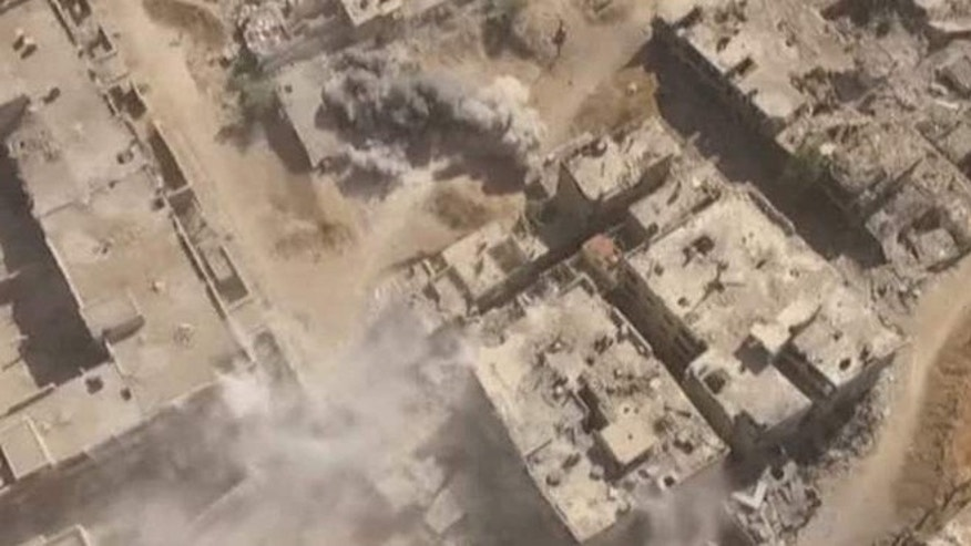 Drone shows destruction in Syria.