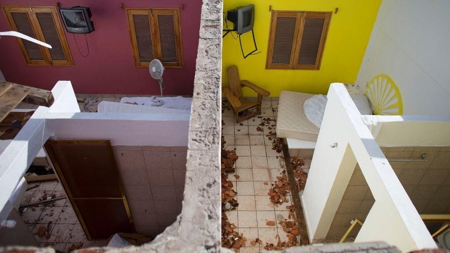 Hotel rooms where local residents sought shelter during the passage of Hurricane Patricia only to have the roof torn off from over their heads, are seen from above at the El Refugio hotel in Emiliano Zapata, Mexico, Saturday, Oct. 24, 2015. (AP Photo/Rebecca Blackwell)