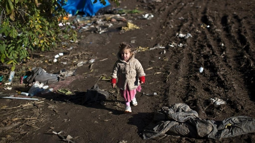 A child walks down a path in a field close to Serbia's border with Croatia, in Berkasovo, Serbia, Sunday, Oct. 25, 2015. Thousands of migrants and refugees are still crossing from Serbia into Croatia and continuing their journey towards Western Europe. (AP Photo/Marko Drobnjakovic)