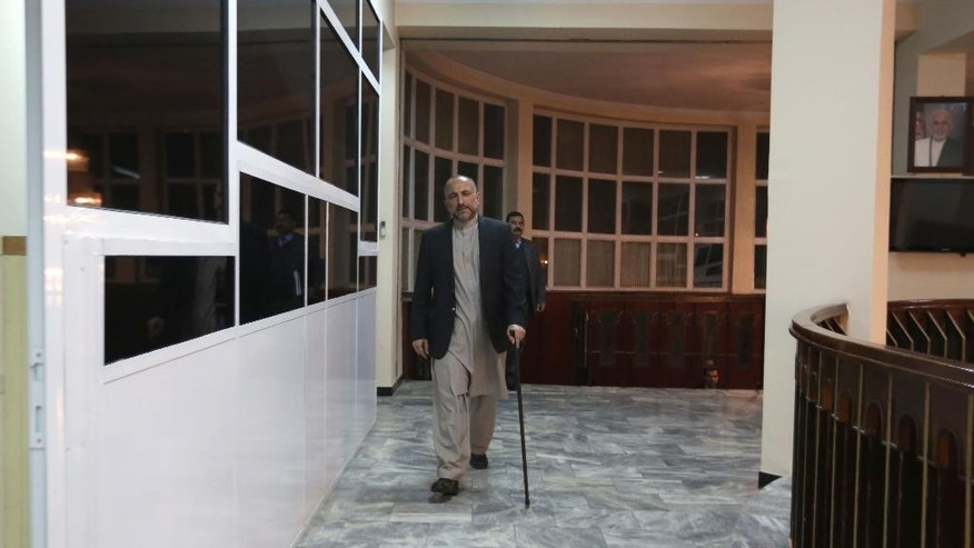In this Saturday, Oct. 24, 2015, photo, Afghan National Security Adviser Mohammad Hanif Atmar arrives for an interview with The Associated Press, in Kabul, Afghanistan. According to Atmar, Afghanistan is in danger of once again becoming a safe haven for terrorists wanting to carry out attacks like the Sept. 11, 2001 atrocities in the United States, and needs the help of the U.S. and NATO countries to ensure victory in its fight to eliminate these groups from within its borders. (AP Photo/Rahmat Gul)