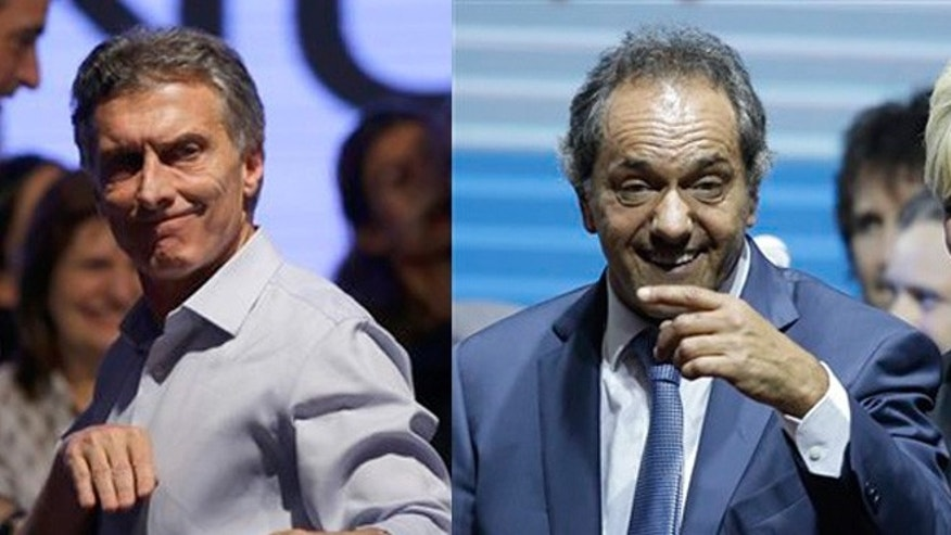 With 80 percent of polling places reporting early Monday, opposition candidate Mauricio Macri (left) and ruling party candidate Daniel Scioli (right) each had 35 percent of the votes.