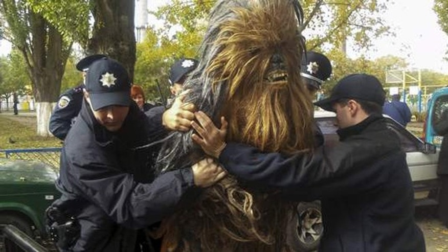 The Wookiee was handcuffed and detained after supporting Darth Vader's bid to be elected as Mayor of Odessa.