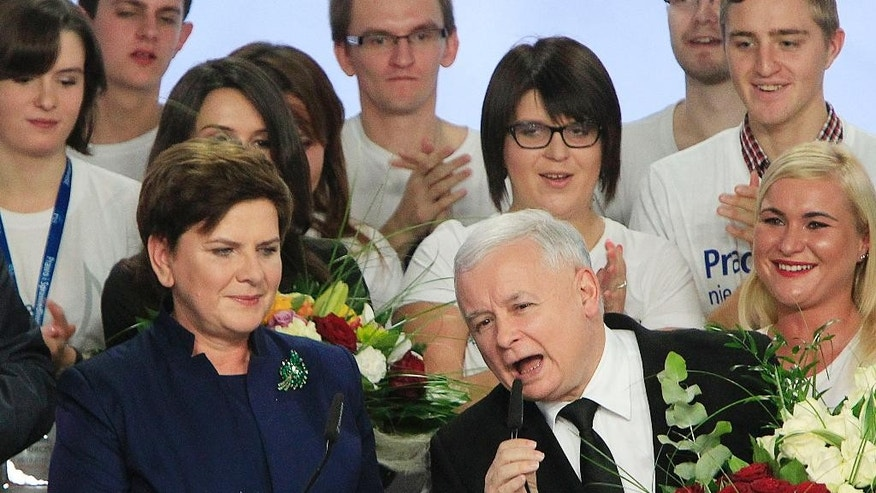 Conservative Law and Justice leader Jaroslaw Kaczynski, left, and Justice candidate for the Prime Minister Beata Szydlo, right, react at the party's headquarters in Warsaw, Poland, on Sunday, Oct.25, 2015. The victory of his Eurosceptic party ends eight years in power of pro-EU, pro-business Civic Platform which voters accuse of being conformist, detached and focused on power rather than on improving the living in Poland.(AP Photo/Czarek Sokolowski)