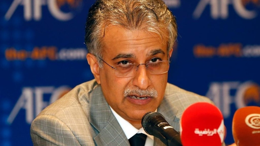 FILE - In this May 2, 2013 file photo, newly-elected Asian Football Confederation President Sheikh Salman Bin Ibrahim Al Khalifa of Bahrain speaks during an AFC conference at a hotel in Kuala Lumpur after winning the post by a landslide victory, replacing longtime rival Mohamed bin Hammam. Bahrain's state news agency reported early Monday, Oct. 26, 2015, AFC President Sheikh Salman has formally launched his bid to replace Sepp Blatter as FIFA president. (AP Photo/Vincent Thian, File)
