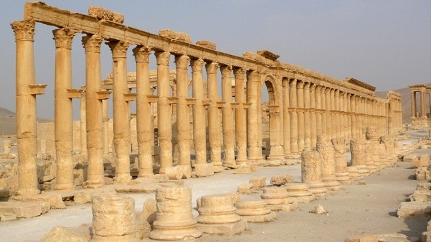 Aug. 5. 2010: The colonnade in the historical city of Palmyra, Syria.