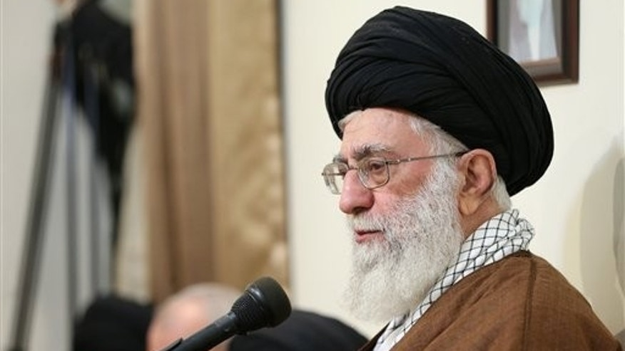 Ayatollah Ali Khamenei delivers a speech in Tehran, Iran. (Office of the Iranian Supreme Leader via AP)