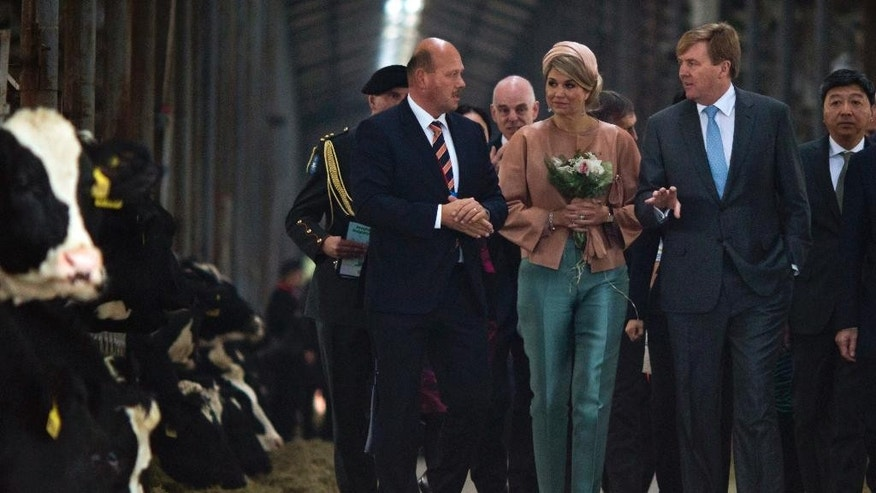 Dutch King Willem-Alexander, second from right, walks with his wife Queen Maxima as they visit the Sino-Dutch Dairy Development Center on the outskirts of Beijing, China, Sunday, Oct. 25, 2015. (AP Photo/Ng Han Guan)