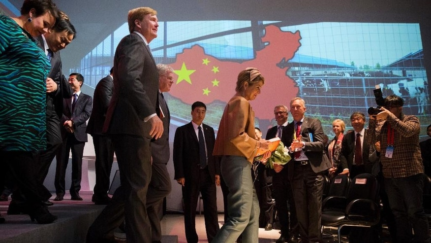 Dutch King Willem-Alexander, center left, looks up as he walks behind his wife Queen Maxima during a visit to the Sino-Dutch Dairy Development Center on the outskirts of Beijing, China, Sunday, Oct. 25, 2015. (AP Photo/Ng Han Guan)
