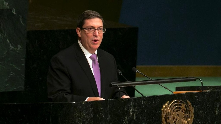Cuba's Foreign Minister Bruno Rodriguez addresses the United Nations General Assembly, Tuesday, Oct. 27, 2015. Cuba will submit to the UN General Assembly on Tuesday its annual draft resolution calling for an end to the U.S.-led five-decade embargo against the Caribbean nation.  (AP Photo/Richard Drew)