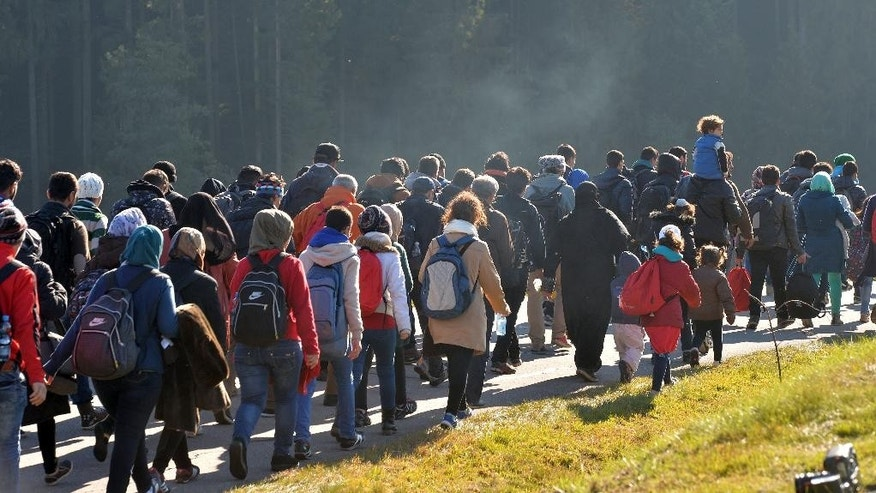 Migrants walk along a road after crossing the border between Austria and Germany in Wegscheid near Passau, Wednesday, Oct. 28, 2015. Germany has implemented a plan to streamline the asylum process for those fleeing civil war, such as Syrians, to settle them more quickly, but also to more rapidly send home those whose case for asylum is weak. (AP Photo/Kerstin Joensson)