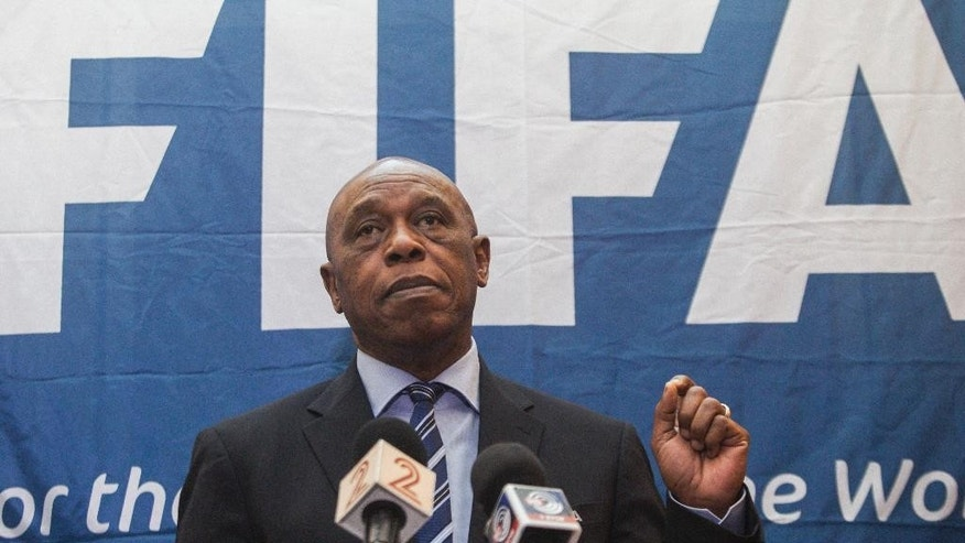 "FILE In this file photo dated Friday, Oct. 2, 2015, Chairman of the FIFA Monitoring Committee Israel-Palestine, Tokyo Sexwale, speaks to the media during a press conference in Tel Aviv, Israel. Seven men are in the running to replace Sepp Blatter as FIFA president, with Michel Platini's candidature accepted but pending because of his suspension from soccer. FIFA published the list of valid applications ""proposed in due time and form"" on Wednesday Oct. 28, 2015. It did not include former Trinidad and Tobago player David Nakhid, who did not have the five required nominations. he seven candidates for the Feb. 26 election are: Platini, Prince Ali bin al-Hussein, Gianni Infantino, Tokyo Sexwale, Musa Bility, Jerome Champagne and Sheikh Salman bin Ebrahim Al Khalifa.   (AP Photo/Dan Balilty, FILE)"