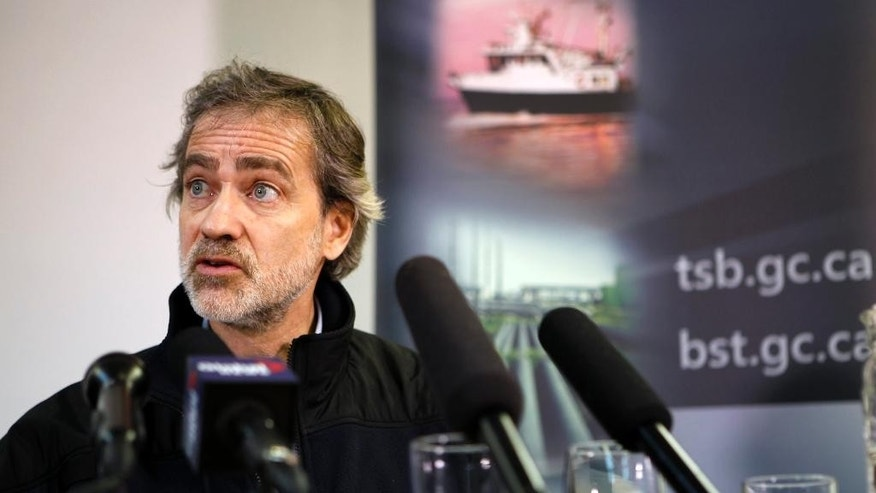 Director of Marine Investigations for Canada's Transportation Safety Board, Marc Andre Poisson, briefs the media on the latest developments in their investigation into the sinking of the Leviathan II in Tofino, British Columbia, Tuesday, Oct. 27, 2015. The whale watching boat to capsized off Vancouver Island on Sunday, killing multiple people. (Chad Hipolito/The Canadian Press via AP) MANDATORY CREDIT