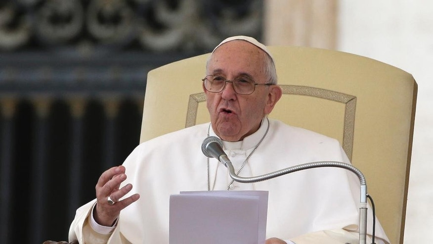 Pope Francis delivers his speech during  his weekly general audience in St. Peter's Square at the Vatican, Wednesday, Oct. 28, 2015. (AP Photo/Alessandra Tarantino)
