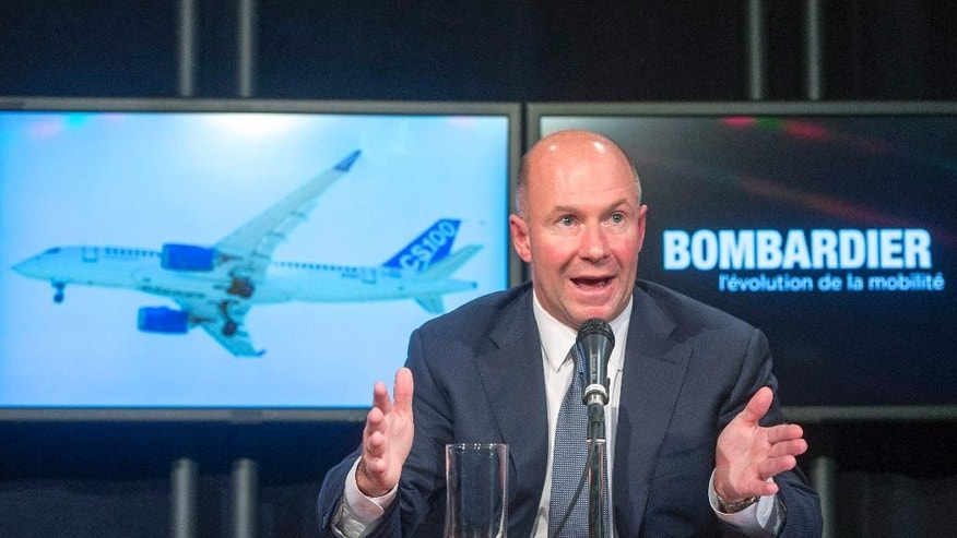 Bombardier president and CEO Alain Bellemare speaks at a news conference in Montreal on Thursday, Oct. 29, 2015. Bombardier, the world's third largest plane maker, said Thursday that it will get a US$1 billion investment from the Quebec government and is reporting a $4.9-billion loss for the third quarter, mostly tied to its CSeries and Learjet 85 aircraft programs. (Ryan Remiorz/The Canadian Press via AP) MANDATORY CREDIT