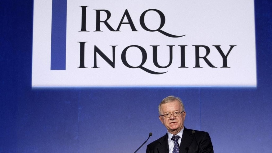 FILE - In this Thursday, July 30, 2009 file photo, John Chilcot, the chairman of the Iraq Inquiry, speaks to the media as the inquiry gets underway in London. The Iraq-war inquiry chairman pledged in a letter released Thursday, Oct. 29, 2015 that his long-awaited report will be published next summer, disappointing Britain's prime minister and families of slain service personnel who were hoping that it would happen sooner. John Chilcot's new estimated time of delivery comes after months of pressure to complete the investigation, which began in 2009. The inquiry into decisions and mistakes in Britain's planning and execution of the war has been delayed in part by a process that gives those who are criticized a chance to respond. (AP Photo/Matt Dunham, file)