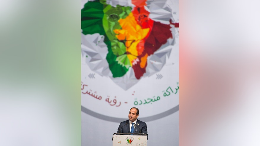 Egyptian President Abdel Fattah Al Sisi speaks during the India Africa Forum Summit in New Delhi, India, Thursday, Oct. 29, 2015. More than 40 African leaders are in New Delhi to attend the IAFS 2015, preceded by meetings of trade and foreign ministers from nearly all 54 African nations, to explore how Indian investment and technology can help a resurgent Africa face its development challenges. (AP Photo/Manish Swarup)