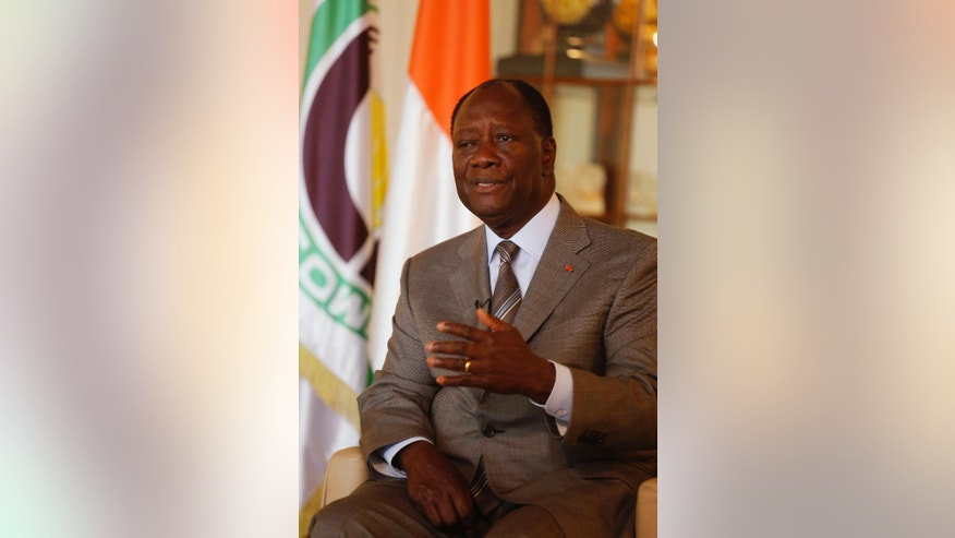 Ivory Coast's President Alassane Ouattara speak to the Associated Press during a interview in Abidjan, Ivory Coast, Thursday, Oct. 29, 2015.  Ivory Coast's President Alassane Ouattara easily won re-election in the first vote since a disputed poll five years ago sparked violence that killed thousands in the West African economic powerhouse, the electoral commission announced Wednesday. (AP Photo/Schalk van Zuydam)