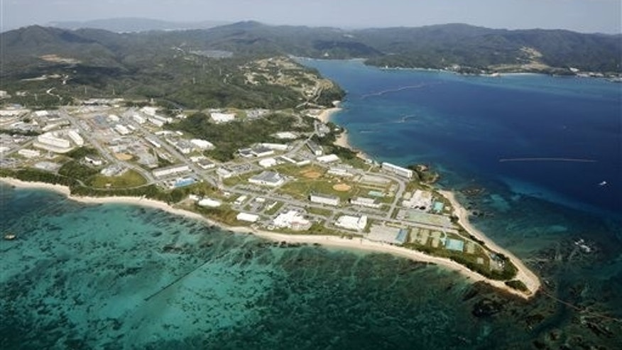 This aerial photo shows Henoko of Nago city, Okinawa. (Kazuhiko Yamashita/Kyodo News via AP)