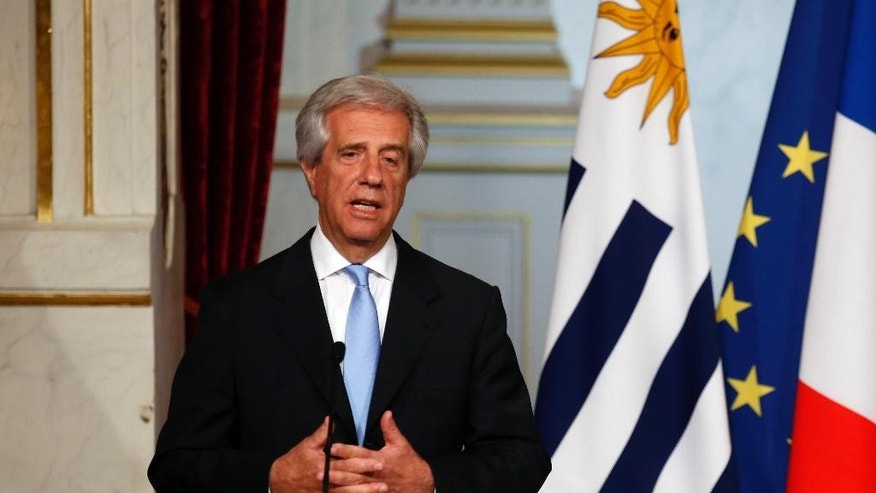 Uruguay's President Tabare Vazquez delivers his speech during a press conference with French President Francois Hollande at the Elysee Palace in Paris, Wednesday, Oct, 28, 2015. (AP Photo/Francois Mori)